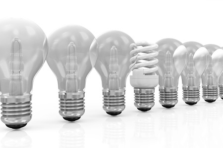 Modern Fluorescent Light Bulb standing out from the others Light Bulbs isolated on white background photo