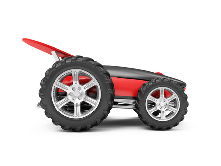 scrollwheel: Gaming or Delivery Computer Mouse Concept. Modern Computer Mouse on Wheels isolated on white background