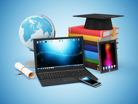 Electronic Educational Technology or ELearning Concept. Modern Electronic Gadgets with Desk Globe Graduation Cap with Diploma and Stack of Books.