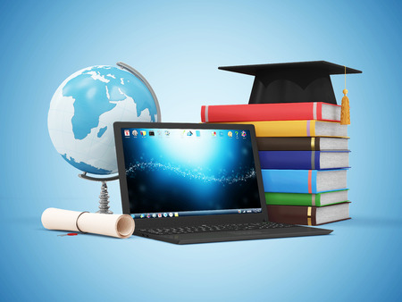 Electronic Educational Technology or ELearning Concept. Modern Laptop with Desk Globe Graduation Cap Diploma and Stack of Colorful Books.