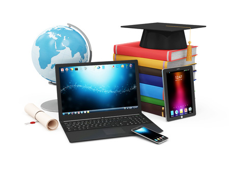Electronic Educational Technology or E-Learning Concept. Modern Electronic Gadgets with Desk Globe, Graduation Cap with Diploma and Stack of Books. (Elements of this image furnished by NASA)