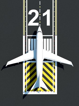 Top View of Airplane Waiting on Airport Runway. Passenger Airliner of My Own Design