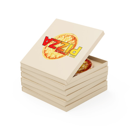 3d pizza: Hot and Fresh Pizza Concept. Stack of Pizza Boxes with Fresh 3D Pizza Inside isolated on white background