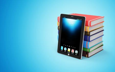 aprendizaje: Electrónica de Tecnología Educativa ELearning o EBook Concept. Pila de libros coloridos con moderna Tablet PC aislado en fondo blanco