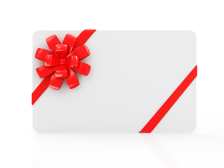 Empty Blank Gift Card with Red Ribbon and Bow isolated on white reflective background Banque d'images