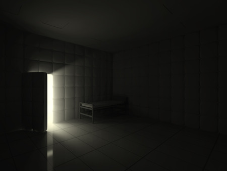 nuthouse: Mental Hospital Room Interior with Opened Door at Night. 3D Rendering
