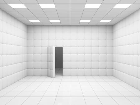 ドアを開けると白い精神病院部屋インテリア。3 D レンダリング 写真素材