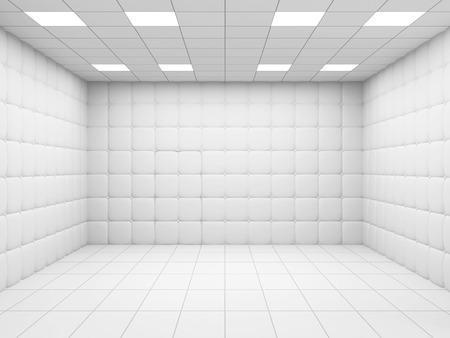 白の精神病院の室内。3 D レンダリング
