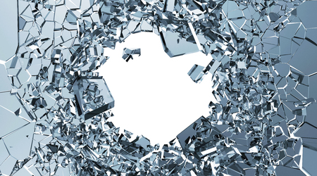 a danger: Abstract Illustration of Broken Blue Glass into Pieces isolated on white background with place for Your text