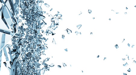 break: Abstract Illustration of Broken Blue Glass into Pieces isolated on white background
