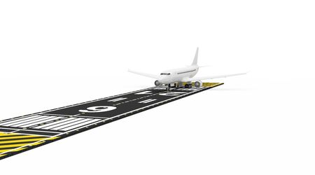 Airplane Waiting on Airport Runway isolated on white background. Passenger Airliner of My Own Design
