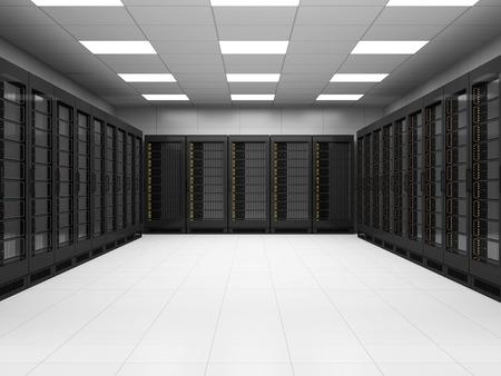 Modern Server Room 3D Interior. 3D Rendering 스톡 콘텐츠