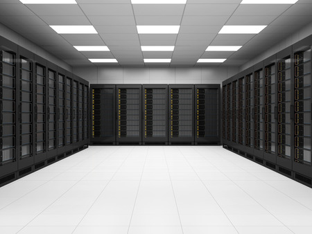 Moderne Server Room 3D Binnenlandse Zaken. 3D Rendering Stockfoto