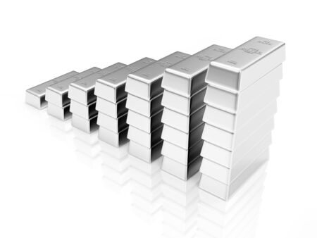 silver bars: Business Financial Success or Wealth and Riches Concept. Business Graph made from Silver Bars isolated on white reflective background