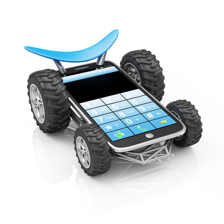 Powerful and Reliable Smart Phone or Delivery of Mobile Devices Concept. Modern Touchscreen Smartphone on Wheels isolated on white reflective background