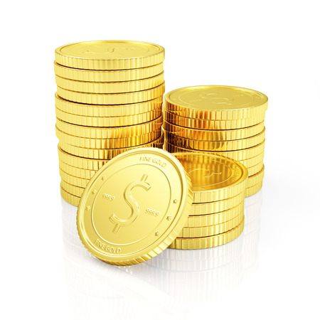 golden coins: Business Financial Success or Wealth and Riches Concept. Stack of Golden Coins isolated on white reflective background Stock Photo