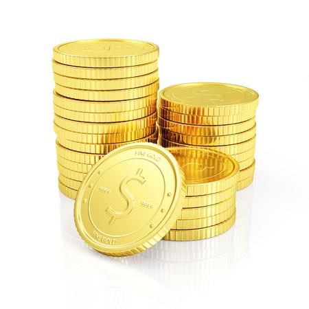 signo pesos: Negocios éxito financiero o Bienes y riquezas Concept. Pila de monedas de oro aisladas sobre fondo blanco reflectante