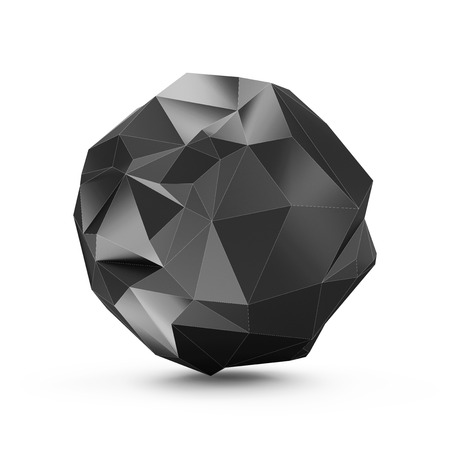 keen: Abstract Black Fractal Geometric Polygonal or Lowpoly Style Black Sphere isolated on white background