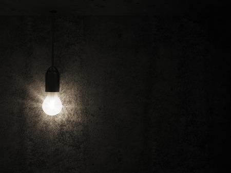 텍스트에 대 한 장소로 빈 콘크리트 실내에서 전구 매달려