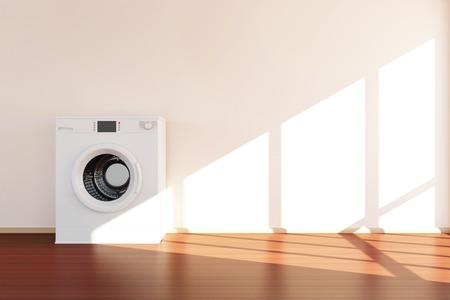 lavadora con ropa: Lavadora moderna de pie cerca de la pared en la sala 3D Interior con la luz del sol.