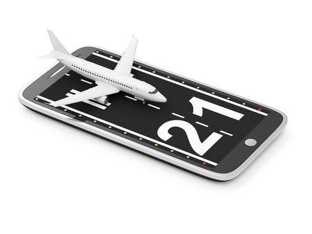 Reizen met uw telefoon of bestellen Airline Tickets via Smart Phone Application Concept. Baan met passagiersvliegtuig op moderne slimme telefoon geïsoleerd op een witte achtergrond. Tickets van mijn eigen ontwerp