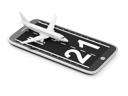 mobile business: Travel with your Phone or Order Airline Tickets via Smart Phone Application Concept. Runway with Passenger Airliner on Modern Smart Phone isolated on white background. Tickets of My Own Design
