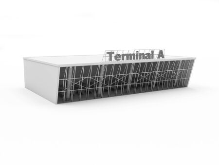 terminal: Modern Exterior of an Airport Terminal 3D Building isolated on white background