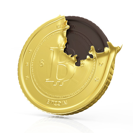 electronical: Business, Finance and Internet Online Payment System Concept. Golden Bitcoin Cryptocurrency with Chocolate Bitcoin Inside isolated on white reflective background with place for Your text