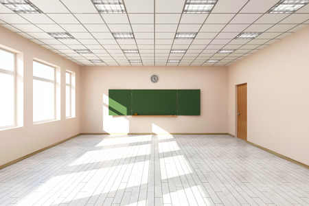 classroom training: Modern Empty Classroom 3D Interior in Light Tones with Green Chalkboard on the Wall. 3D Rendering