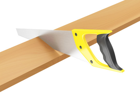 woodcutting: Handsaw Sawing Timber Plank isolated on white background