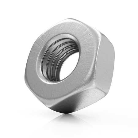 nut: Metal Steel Screw Nut Icon isolated on white background Stock Photo