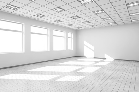 big windows: Empty White Room Interior with Big Windows. 3D Rendering Stock Photo