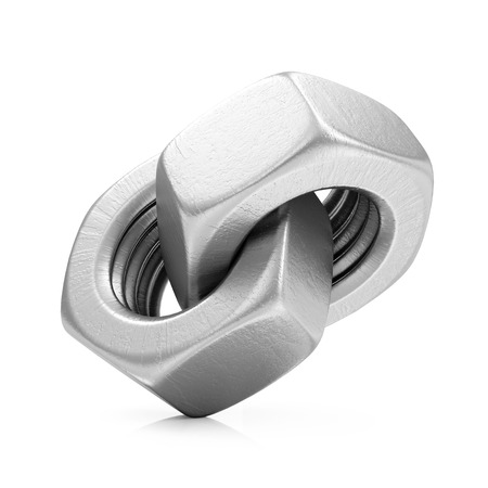 Metal Steel Screw Nuts Icon isolated on white background Stock Photo