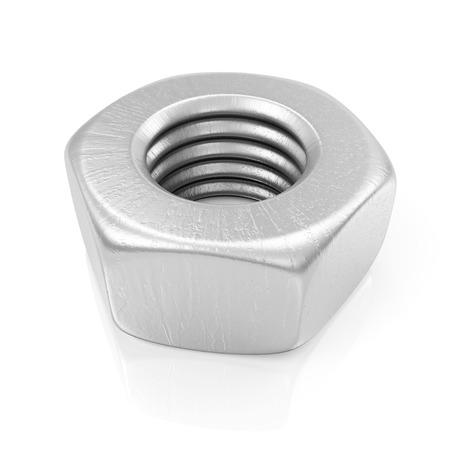 tighten: Metal Steel Screw Nut Icon isolated on white background Stock Photo