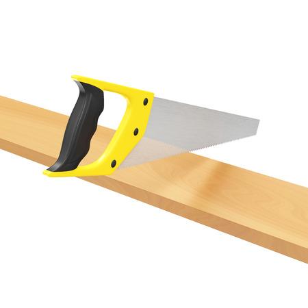 serrucho: Serrucho Madera aserrado Plank aislado en fondo blanco Foto de archivo