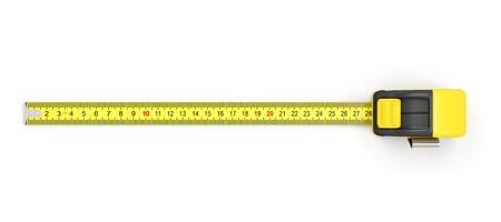 cinta metrica: Cinta métrica aislada en el fondo blanco. Vista superior