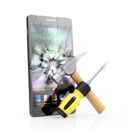 broken telephone: Mobile Service and Repair Concept. Modern Black Touchscreen Smart Phone with Broken Screen and Repair Symbol: Screwdriver with a Claw Hammer isolated on white background