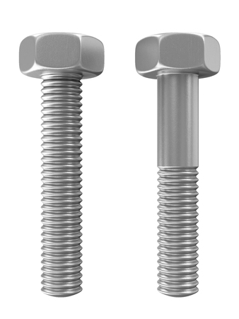 metalware: Metal Steel Bolts isolated on white background
