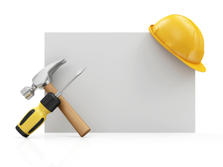 Repair, Industrial or Under Construction Concept. Screwdriver with a Claw Hammer with Yellow Construction Safety Helmet on a White Blank Board isolated on white background Stock Photo