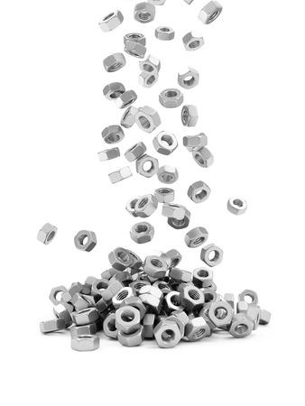 Heap of Metal Screw Steel Nuts Falling on white background