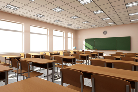 blackboard background: Modern Classroom 3D Interior in Light Tones. 3D Rendering