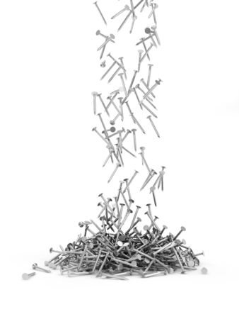 hobnail: Heap of Metal Steel Nails Falling on white background