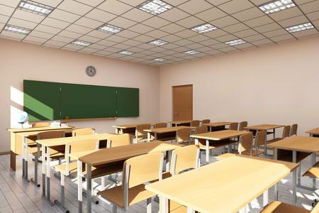 Modern Classroom 3D Interior in Light Tones. 3D Rendering