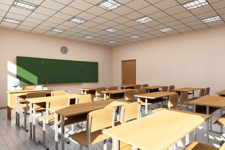 Modern klaslokaal 3D Interieur in lichte tinten. 3D Rendering