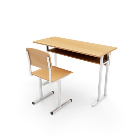 Houten School bureau en een stoel die op een witte achtergrond. 3D Rendering