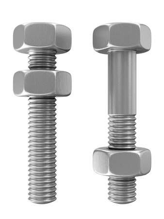 metalware: Metal Steel Bolts with Screw Nuts isolated on white background