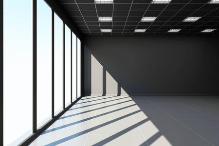 white door: Modern Empty Black Office Interior with Big Windows. 3D Rendering Stock Photo