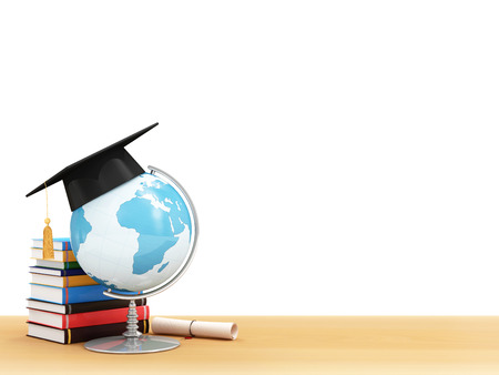 Education Concept. Desk Globe with Graduation Cap, Diploma and Books on a School Desk isolated on white background (Elements of this image furnished by NASA)