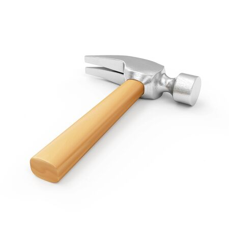 whack: Claw Hammer with a Wooden Handle isolated on white background