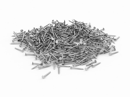 hobnail: Heap of Metal Steel Nails isolated on white background